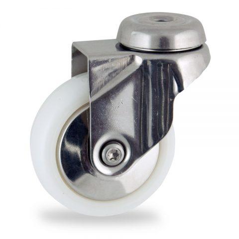 INOX Okretni točak,50mm za lagana kolica, sa točkom od poliamid tip 6 osovina kliznog ležaja montaža sa otvor - rupa