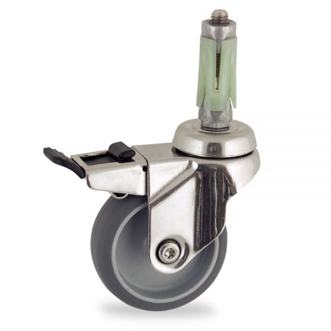 INOX Okretni točak sa kočnicom,50mm za lagana kolica, sa točkom od termoplastika siva neobeležena guma osovina kliznog ležaja montaža sa ekspander