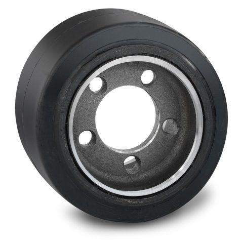 Pogonski točak za električne paletne viljuškare 250X105mm od elastična guma  sa aplikacija - primena prirubnica sa  otvori za