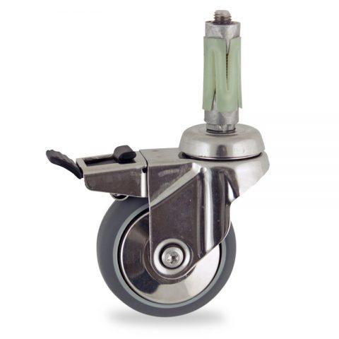 INOX Okretni točak sa kočnicom,50mm za lagana kolica, sa točkom od termoplastika siva neobeležena guma kuglični ležajevimontaža sa ekspander