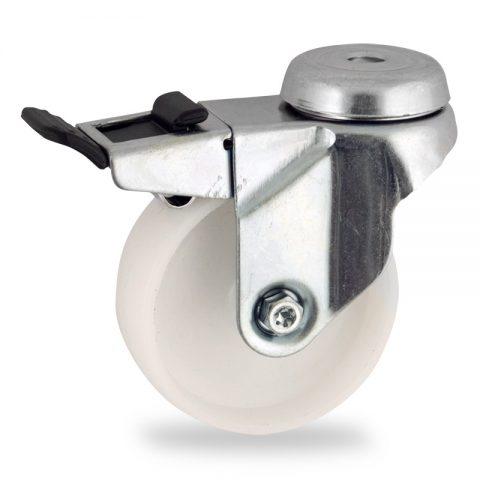 Okretni točak sa kočnicom,100mm za lagana kolica, sa točkom od poliamid tip 6 osovina kliznog ležaja montaža sa otvor - rupa