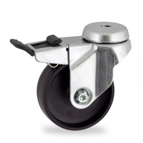 Okretni točak sa kočnicom,50mm za lagana kolica, sa točkom od polipropilen  osovina kliznog ležaja montaža sa otvor - rupa