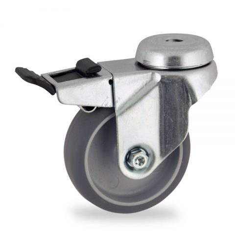 Okretni točak sa kočnicom,100mm za lagana kolica, sa točkom od termoplastika siva neobeležena guma osovina kliznog ležaja montaža sa otvor - rupa