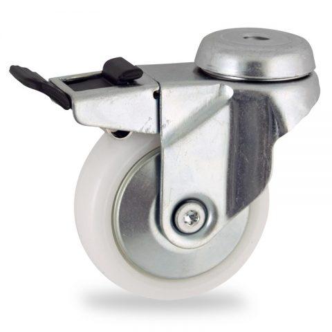 Okretni točak sa kočnicom,50mm za lagana kolica, sa točkom od poliamid tip 6 osovina kliznog ležaja montaža sa otvor - rupa