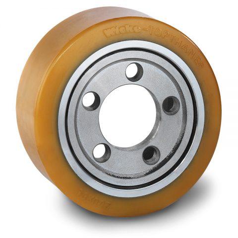 Pogonski točak za električne paletne viljuškare 250X80mm od poliuretan  sa aplikacija - primena prirubnica sa  otvori za