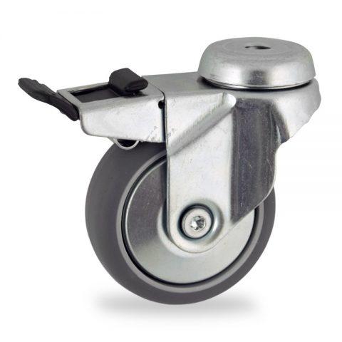 Okretni točak sa kočnicom,100mm za lagana kolica, sa točkom od termoplastika siva neobeležena guma kuglični ležajevimontaža sa otvor - rupa