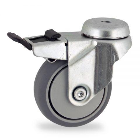 Okretni točak sa kočnicom,50mm za lagana kolica, sa točkom od termoplastika siva neobeležena guma osovina sa jednokugličnim ležajem montaža sa otvor - rupa