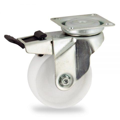 Okretni točak sa kočnicom,50mm za lagana kolica, sa točkom od poliamid tip 6 osovina kliznog ležaja montaža sa gornja ploča