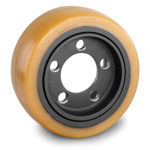 Pogonski točak za električne paletne viljuškare 250X105mm od poliuretan  sa aplikacija - primena prirubnica sa  otvori za