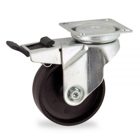 Okretni točak sa kočnicom,50mm za lagana kolica, sa točkom od polipropilen  osovina kliznog ležaja montaža sa gornja ploča