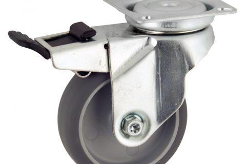 Okretni točak sa kočnicom,50mm za lagana kolica, sa točkom od termoplastika siva neobeležena guma kuglični ležajevimontaža sa gornja ploča