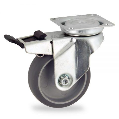 Okretni točak sa kočnicom,75mm za lagana kolica, sa točkom od termoplastika siva neobeležena guma kuglični ležajevimontaža sa gornja ploča