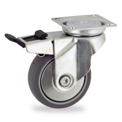 Okretni točak sa kočnicom,100mm za lagana kolica, sa točkom od termoplastika siva neobeležena guma osovina kliznog ležaja montaža sa gornja ploča