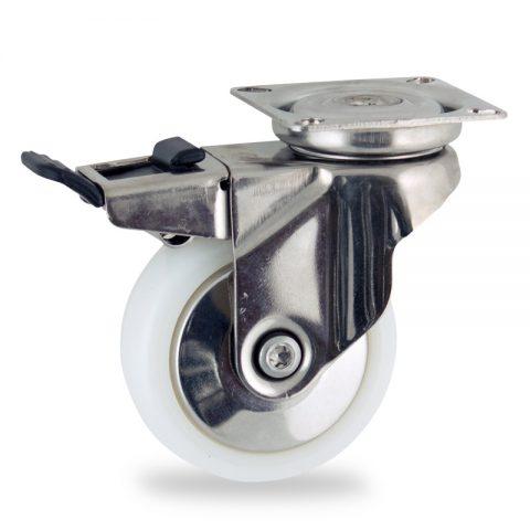 INOX Okretni točak sa kočnicom,75mm za lagana kolica, sa točkom od poliamid tip 6 osovina kliznog ležaja montaža sa gornja ploča