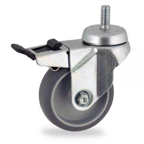 Okretni točak sa kočnicom,100mm za lagana kolica, sa točkom od termoplastika siva neobeležena guma osovina kliznog ležaja montaža sa navoj