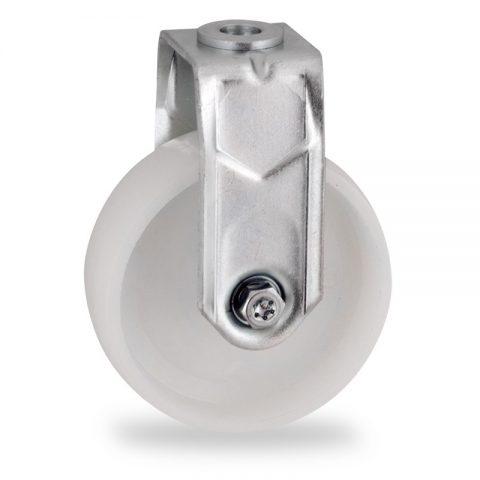 Fiksni točak,75mm za lagana kolica, sa točkom od poliamid tip 6 osovina kliznog ležaja montaža sa otvor - rupa