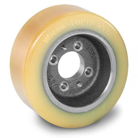 Pogonski točak za električne paletne viljuškare 200X85mm od poliuretan  sa aplikacija - primena prirubnica sa  otvori za