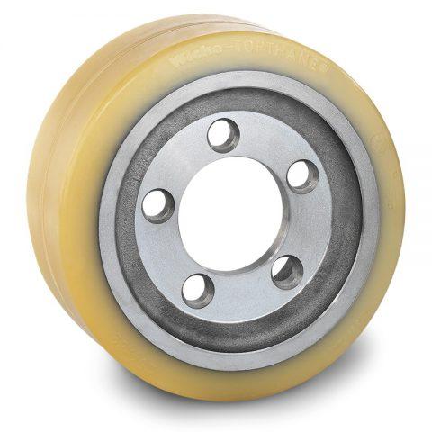 Pogonski točak za električne paletne viljuškare 254X82mm od poliuretan  sa aplikacija - primena prirubnica sa  otvori za