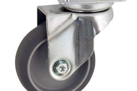 Okretni točak,100mm za lagana kolica, sa točkom od termoplastika siva neobeležena guma kuglični ležajevimontaža sa gornja ploča