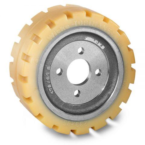 Pogonski točak za električne paletne viljuškare 233X85mm od poliuretan  sa aplikacija - primena prirubnica sa  otvori za