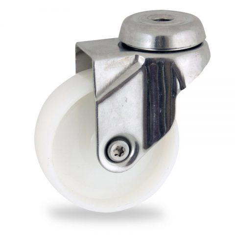INOX Okretni točak,125mm za lagana kolica, sa točkom od poliamid tip 6 osovina kliznog ležaja montaža sa otvor - rupa