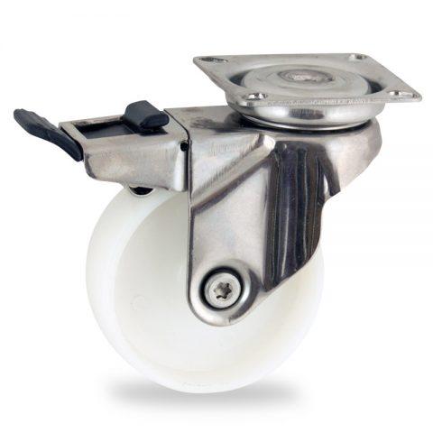 INOX Okretni točak sa kočnicom,50mm za lagana kolica, sa točkom od poliamid tip 6 osovina kliznog ležaja montaža sa gornja ploča