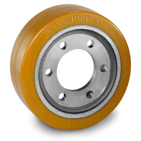 Pogonski točak za električne paletne viljuškare 230X75mm od poliuretan  sa aplikacija - primena prirubnica sa  otvori za
