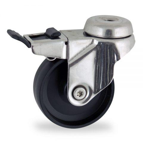 INOX Okretni točak sa kočnicom,100mm za lagana kolica, sa točkom od polipropilen  osovina kliznog ležaja montaža sa otvor - rupa