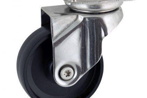 INOX Okretni točak,100mm za lagana kolica, sa točkom od polipropilen  osovina kliznog ležaja montaža sa gornja ploča