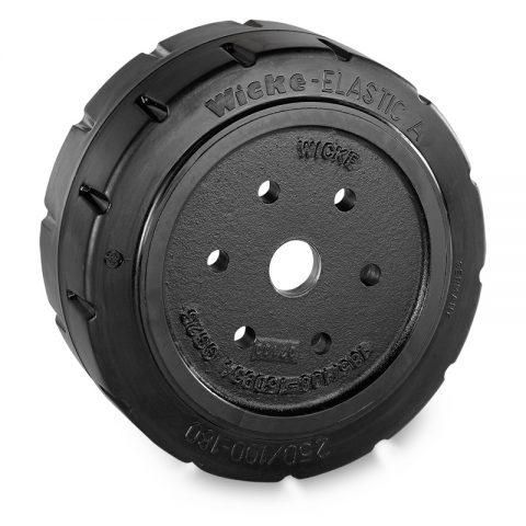Pogonski točak za električne paletne viljuškare 250X100mm od elastična guma  sa aplikacija - primena prirubnica sa  otvori za