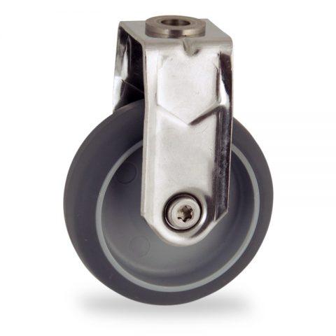 INOX Fiksni točak,50mm za lagana kolica, sa točkom od termoplastika siva neobeležena guma osovina kliznog ležaja montaža sa otvor - rupa