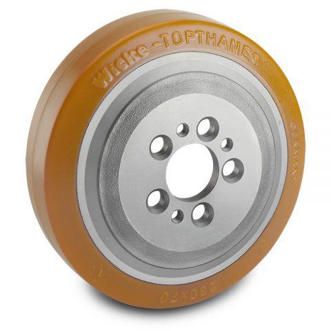 Pogonski točak za električne paletne viljuškare 230X70mm od poliuretan  sa aplikacija - primena prirubnica sa  otvori za