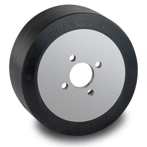 Pogonski točak za električne paletne viljuškare 250X82mm od elastična guma  sa aplikacija - primena prirubnica sa  otvori za