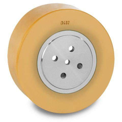 Pogonski točak za električne paletne viljuškare 200X75mm od poliuretan  sa aplikacija - primena prirubnica sa  otvori za