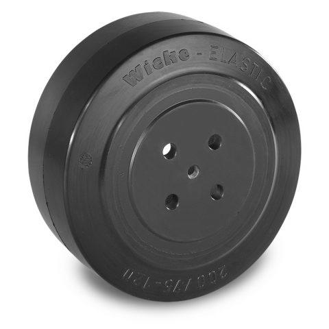 Pogonski točak za električne paletne viljuškare 200X75mm od elastična guma  sa aplikacija - primena prirubnica sa  otvori za