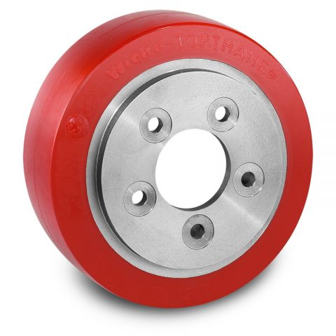 Pogonski točak za električne paletne viljuškare 215X70mm od poliuretan  sa aplikacija - primena prirubnica sa  otvori za