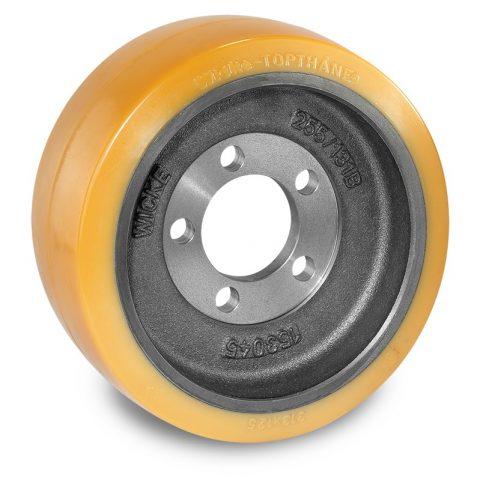Pogonski točak za električne paletne viljuškare 313X125mm od poliuretan  sa aplikacija - primena prirubnica sa  otvori za