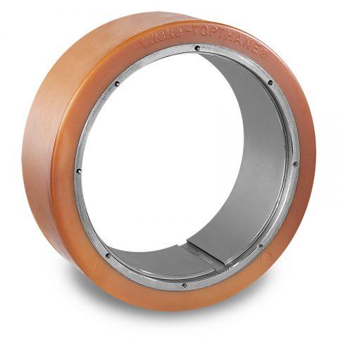 Pogonski točak za električne paletne viljuškare 300X100mm od poliuretan  sa aplikacija - primena prirubnica sa  otvori za
