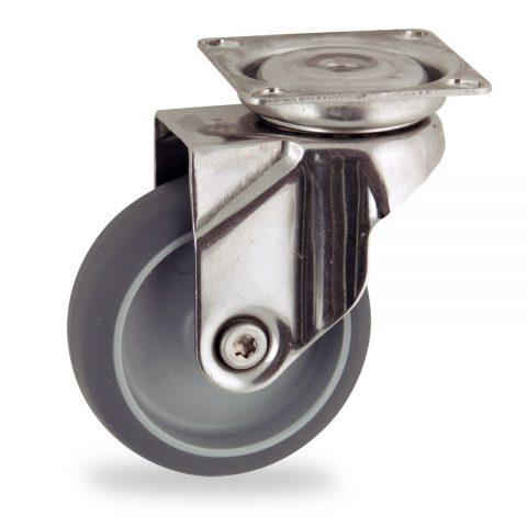 INOX Okretni točak,75mm za lagana kolica, sa točkom od termoplastika siva neobeležena guma osovina kliznog ležaja montaža sa gornja ploča