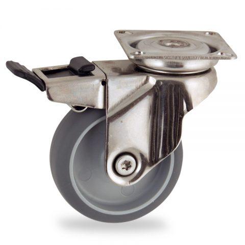 INOX Okretni točak sa kočnicom,75mm za lagana kolica, sa točkom od termoplastika siva neobeležena guma osovina kliznog ležaja montaža sa gornja ploča