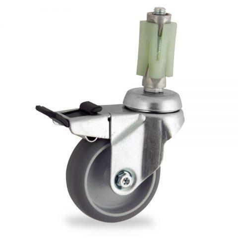 Okretni točak sa kočnicom,100mm za lagana kolica, sa točkom od termoplastika siva neobeležena guma kuglični ležajevimontaža sa ekspander
