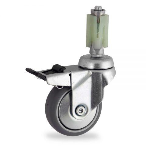 Okretni točak sa kočnicom,100mm za lagana kolica, sa točkom od termoplastika siva neobeležena guma osovina kliznog ležaja montaža sa ekspander