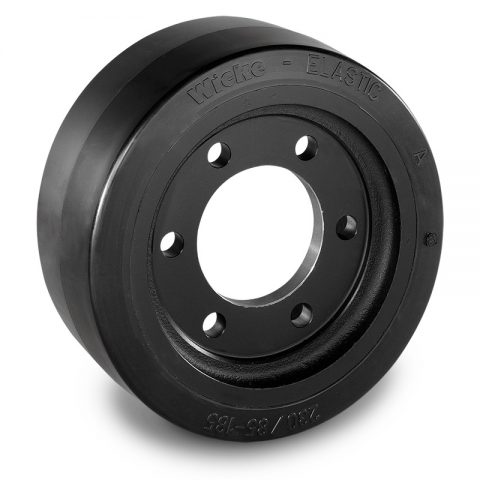 Pogonski točak za električne paletne viljuškare 230X85mm od elastična guma  sa aplikacija - primena prirubnica sa  otvori za