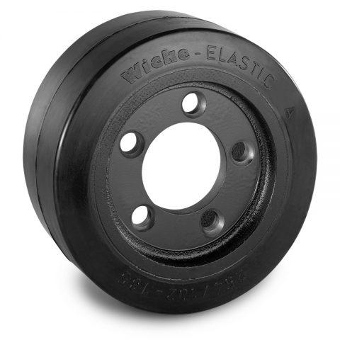 Pogonski točak za električne paletne viljuškare 254X102mm od elastična guma  sa aplikacija - primena prirubnica sa  otvori za