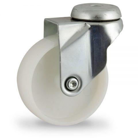 Okretni točak,75mm za lagana kolica, sa točkom od poliamid tip 6 osovina kliznog ležaja montaža sa otvor - rupa