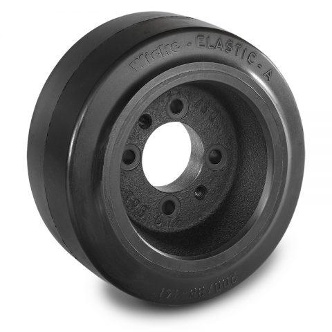 Pogonski točak za električne paletne viljuškare 200X85mm od elastična guma  sa aplikacija - primena prirubnica sa  otvori za