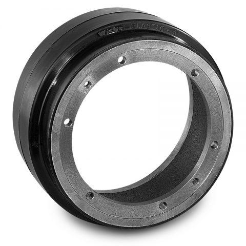 Pogonski točak za električne paletne viljuškare 260X80mm od elastična guma  sa aplikacija - primena prirubnica sa  otvori za