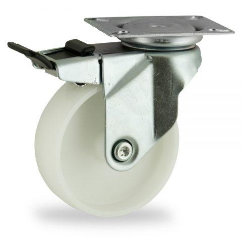 Okretni točak sa kočnicom,75mm za lagana kolica, sa točkom od poliamid tip 6 osovina kliznog ležaja montaža sa gornja ploča