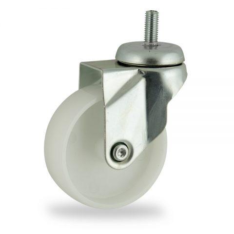 Okretni točak,75mm za lagana kolica, sa točkom od poliamid tip 6 osovina kliznog ležaja montaža sa navoj