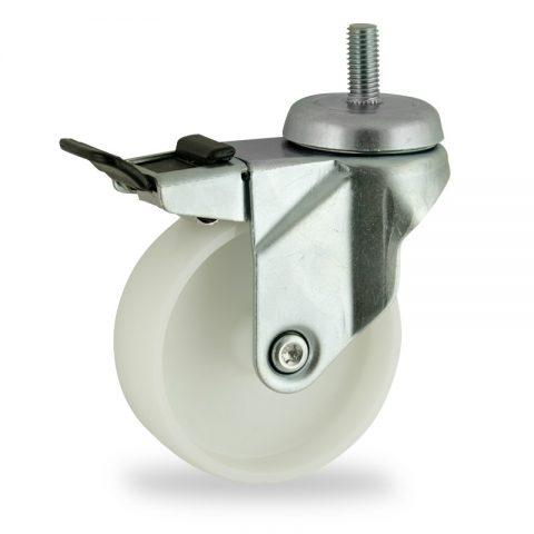 Okretni točak sa kočnicom,75mm za lagana kolica, sa točkom od poliamid tip 6 osovina kliznog ležaja montaža sa navoj
